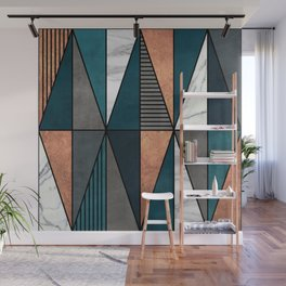 Copper, Marble and Concrete Triangles with Blue Wall Mural