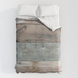 Rustic Western Country Barnwood Farmhouse Chic Grey Teal Beige Beach Wood Comforters