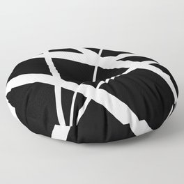Geometric Line Abstract - Black White Floor Pillow