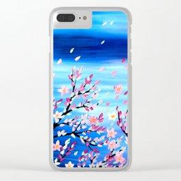 Pink Sakura Clear iPhone Case