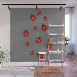GREY ART  RED LADY BUGS  PATTERN DESIGN Wall Mural
