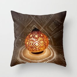 Batik pattern of the sun and rice field Throw Pillow