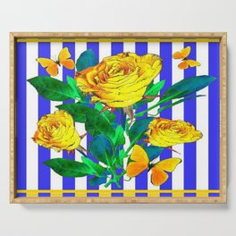 YELLOW SPRING ROSES & BUTTERFLIES WITH LILAC STRIPES Serving Tray