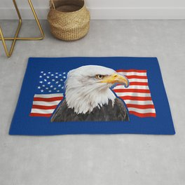 Patriotic Eagle 4th of July American Flag Rug