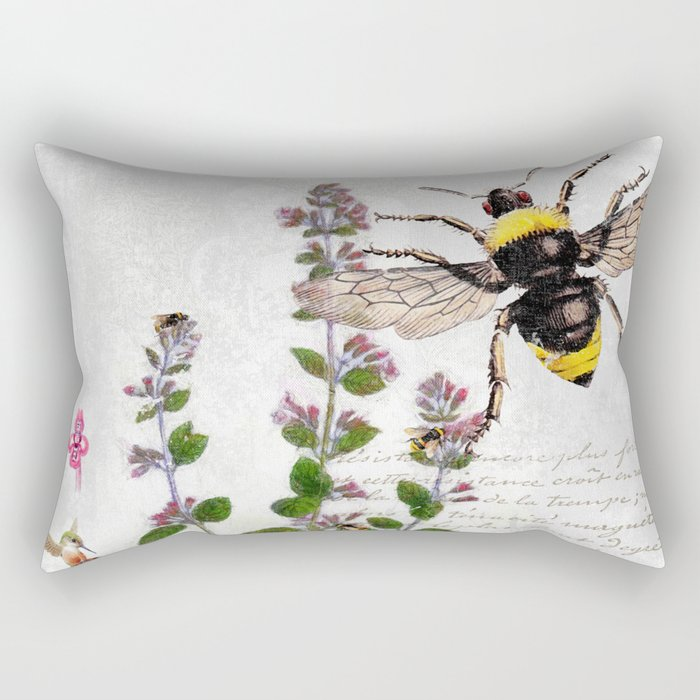 Cottage Style Thyme, Bumble Bee, Hummingbird, Herbal Botanical Illustration Rectangular Pillow