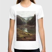 green pattern T-shirts featuring Foggy Forest Creek by Kevin Russ