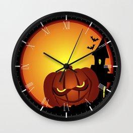 Evil Halloween Pumpkin Scene Wall Clock