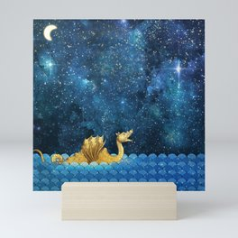 Golden Sea Monster, Loch Ness, Nessy Dragon Dinosaur Mini Art Print