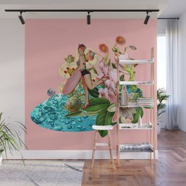 Girl at the Pool #collage Wall Mural