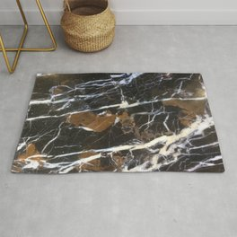 Stylish Polished Black Marble Rug