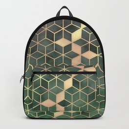 Gold Emerald green Gradient Cube Art print Backpack