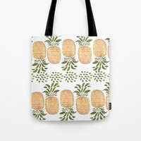 pineapples Tote Bags featuring Pineapples by Bouffants and Broken Hearts