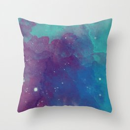 Watercolor night sky Throw Pillow