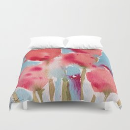 Tulips in watercolor Duvet Cover