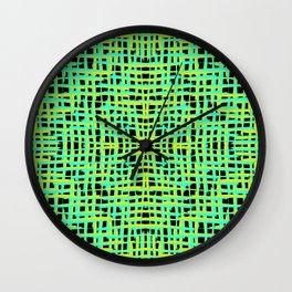 Square yellow curved stripes with imitation of the bark of a light blue tree trunk. Wall Clock