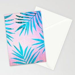 Refreshing Geometric Palm Tree Leaves Tropical Chill Design Stationery Cards