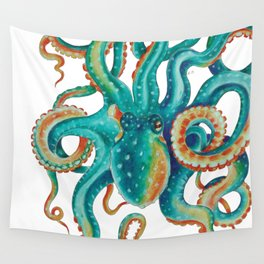 Octopus Tentacles Teal Green Watercolor Art Wall Tapestry