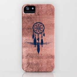 Modern navy blue faux rose gold dreamcatcher iPhone Case