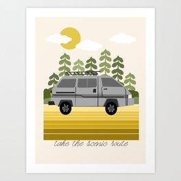 Van Life V - midwest van road tripping travel camping bus RV art Art Print