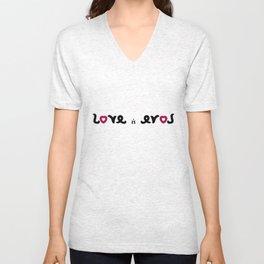 LOVE IS EROS ambigram Unisex V-Neck