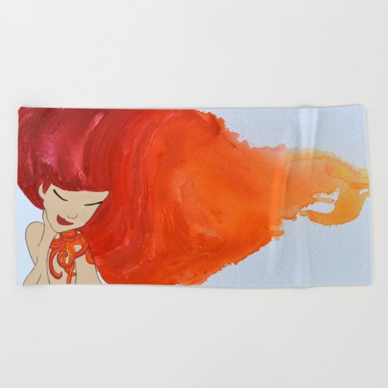 Tattooed Beauty (Red/Orange) - Hair Series Beach Towel