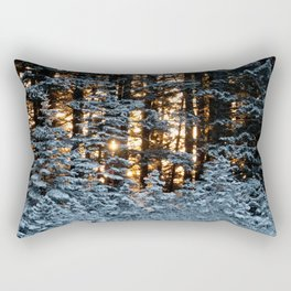 Snow Covered Pine Trees Photography Print Rectangular Pillow
