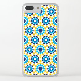 Moroccan pattern in Royal Gold and Bright Sky Blue. Clear iPhone Case
