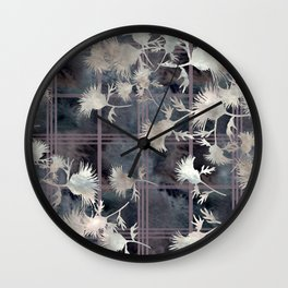 Thistle Flower Felted Plaid Pattern Wall Clock