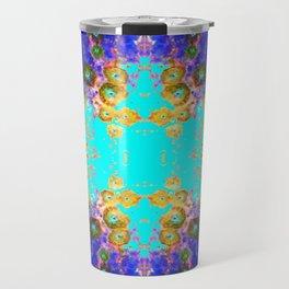 BLUE GARDEN GOLD-PINK  FLOWERS Travel Mug