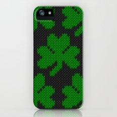 Shamrock pattern - black, green iPhone SE Slim Case