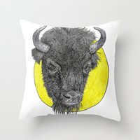 bison Throw Pillows featuring Bison by Triple_S_Art