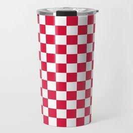 White and Crimson Red Checkerboard Travel Mug