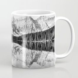 Moraine Lake Reflection Black and White Coffee Mug