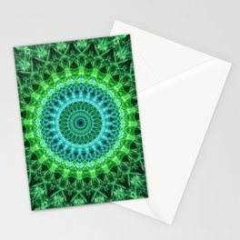Mandala in bright green and blue Stationery Cards