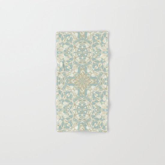 Soft Sage & Cream hand drawn floral pattern Hand & Bath Towel