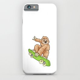 Sloth as Skateboarder with Skateboard iPhone Case