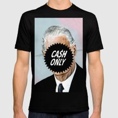 CA$H ONLY LARGE Black Mens Fitted Tee