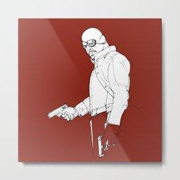 Nick dark red background handmade drawing Metal Print