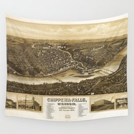 Aerial View of Chippewa Falls, Wisonsin (1907) Wall Tapestry