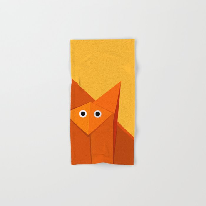 Geometric Cute Origami Fox Portrait Hand & Bath Towel