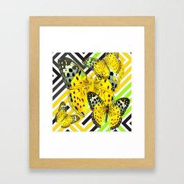 CONTEMPORARY GREY & YELLOW PATTERN BUTTERFLIES Framed Art Print