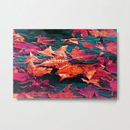 Colorfull Autumn water leaves Metal Print