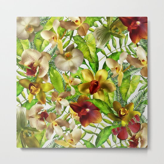 My tropical Orchid Garden- Jungle Pattern on #Society6 Metal Print