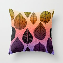 Bright Leaf Design Throw Pillow
