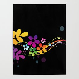 Cut Paper Flowers and Ferns on Black  15K Poster
