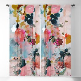 floral bloom abstract painting Blackout Curtain