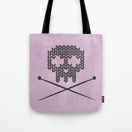 Knitted Skull (Black on Pink) Tote Bag