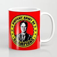 dwight schrute Mugs featuring Dwight Schrute (Dwight Army Of Champions) by Silvio Ledbetter