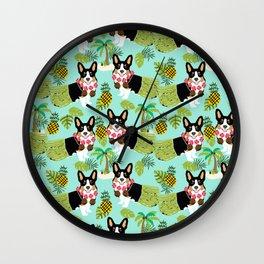 Tri Corgi Hula Grass Skirts Pineapple Tropical Summer Cute tricolored corgi design Wall Clock