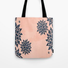 Blue Dahlias on Peach Tote Bag